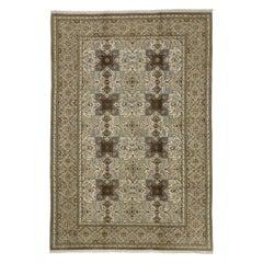 Vintage Persian Tabriz Rug with Islamic Quatrefoil Tile Art Work Design