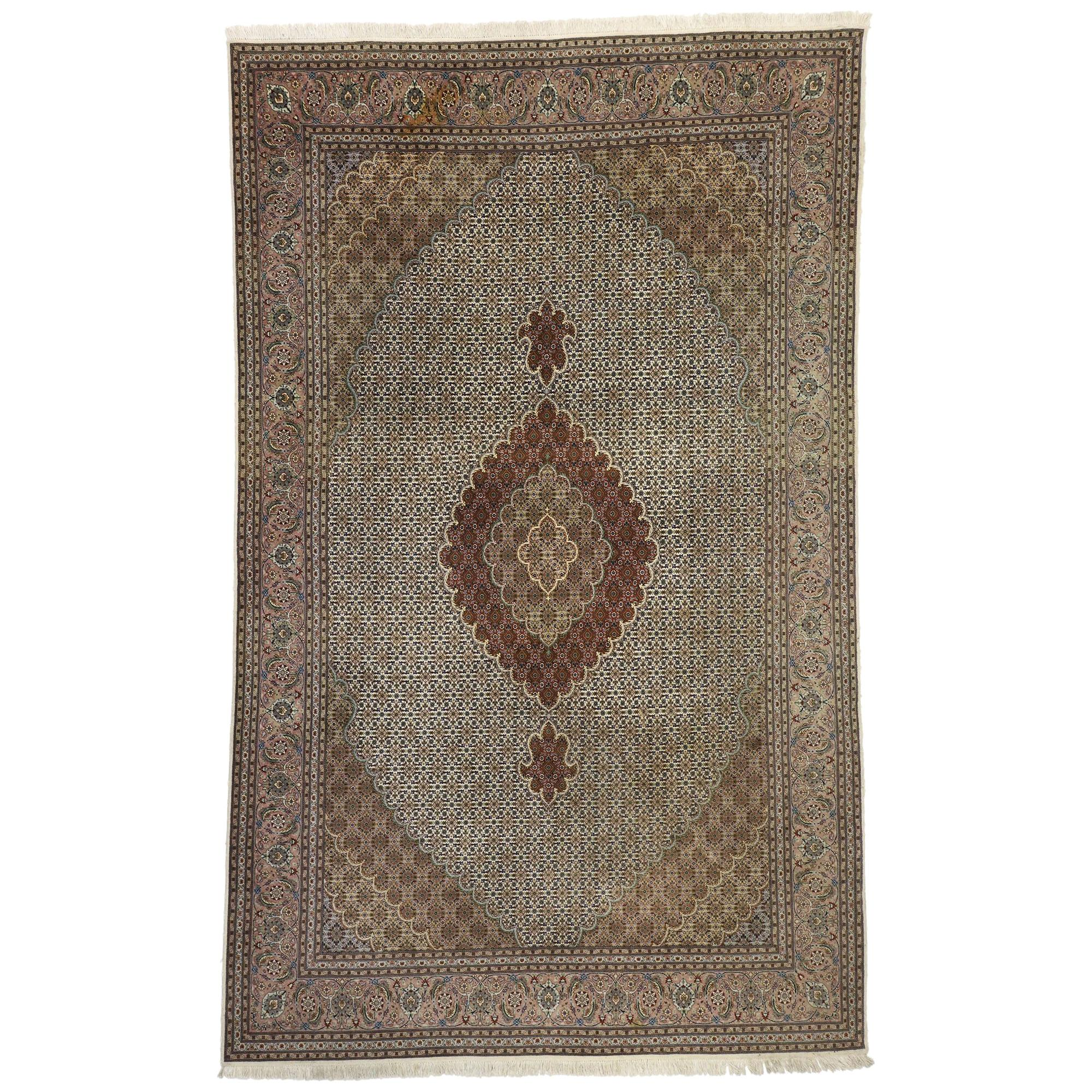 Vintage Persian Tabriz Rug with Mahi Fish Design