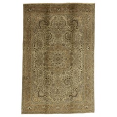 Vintage Persian Tabriz Rug with Neutral Colors