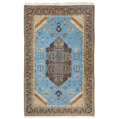Vintage Persian Tabriz Rug with Sky Blue Field