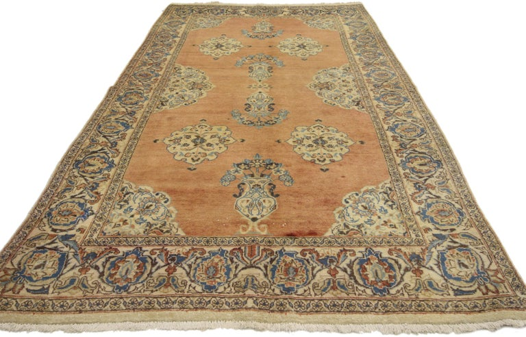 Hand-Knotted Vintage Persian Tabriz Rug with Swedish Farmhouse Style For Sale