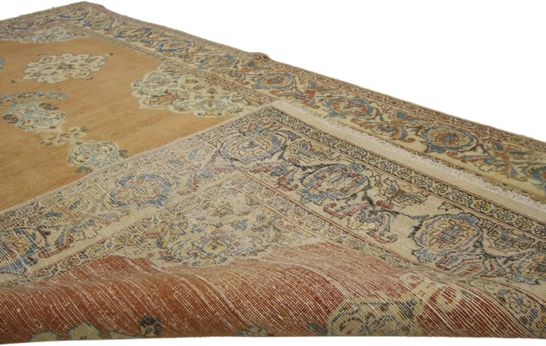 Vintage Persian Tabriz Rug with Swedish Farmhouse Style In Good Condition For Sale In Dallas, TX