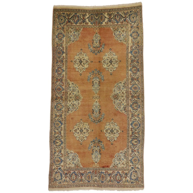 Vintage Persian Tabriz Rug with Swedish Farmhouse Style For Sale