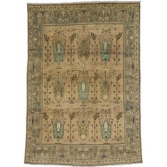 Vintage Persian Tabriz Rug with Traditional Style and Light Colors