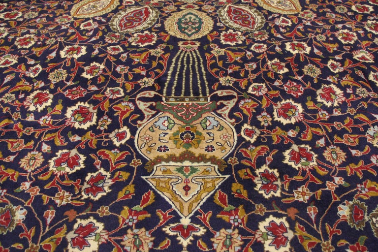 Vintage Persian Tabriz Rug With Traditional Style And The