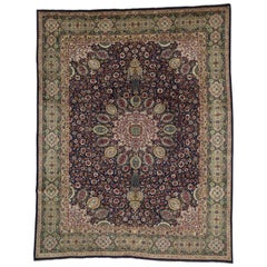 Vintage Persian Tabriz Rug with Traditional Style and the Ardabil Carpet Design