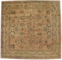 Vintage Persian Tabriz Rug with Traditional Style, Persian Square Rug