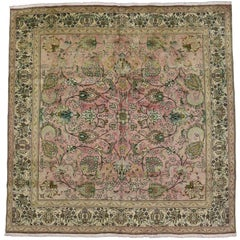 Vintage Persian Tabriz Square Area Rug with French Provincial Georgian Style