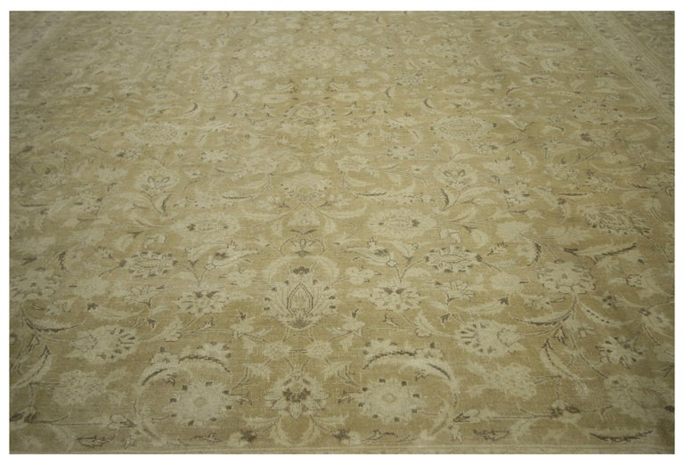 Vintage Persian Tabriz Rug With Warm Neutral Colors For