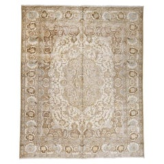 Vintage Persian Tabriz with Pile Hand Knotted Oriental Rug
