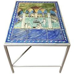 Vintage Persian Tile Top Coffee Table