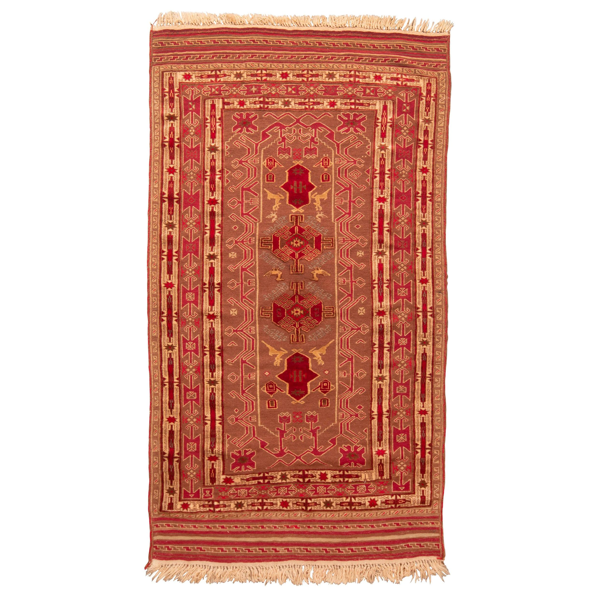 Vintage Persian Transitional Red and Golden-Beige Wool Kilim