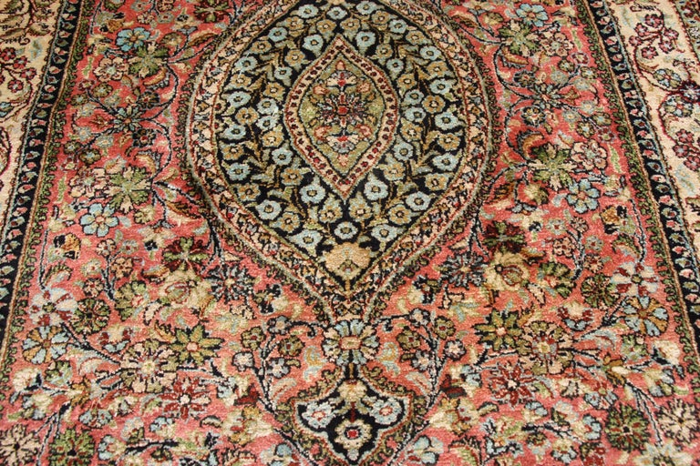 Vintage Persian Tree Of Life Qum Silk Rug With French