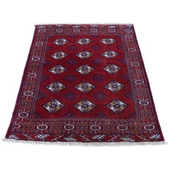 Vintage Persian Turkoman Bokara Design Pure Wool Hand Knotted Oriental Rug