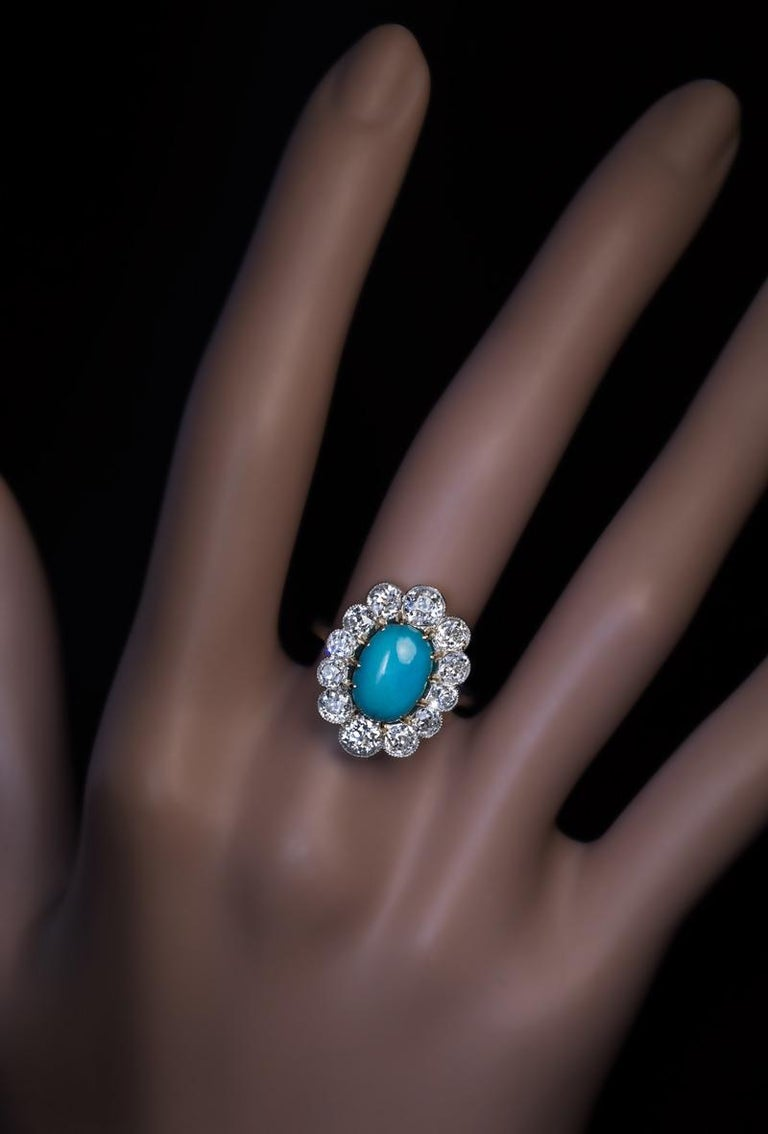 Vintage Persian Turquoise Diamond Gold Platinum Ring In Excellent Condition For Sale In Chicago, IL