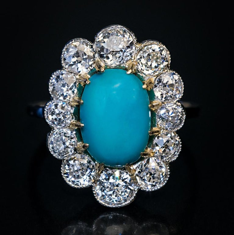 Women's or Men's Vintage Persian Turquoise Diamond Gold Platinum Ring For Sale