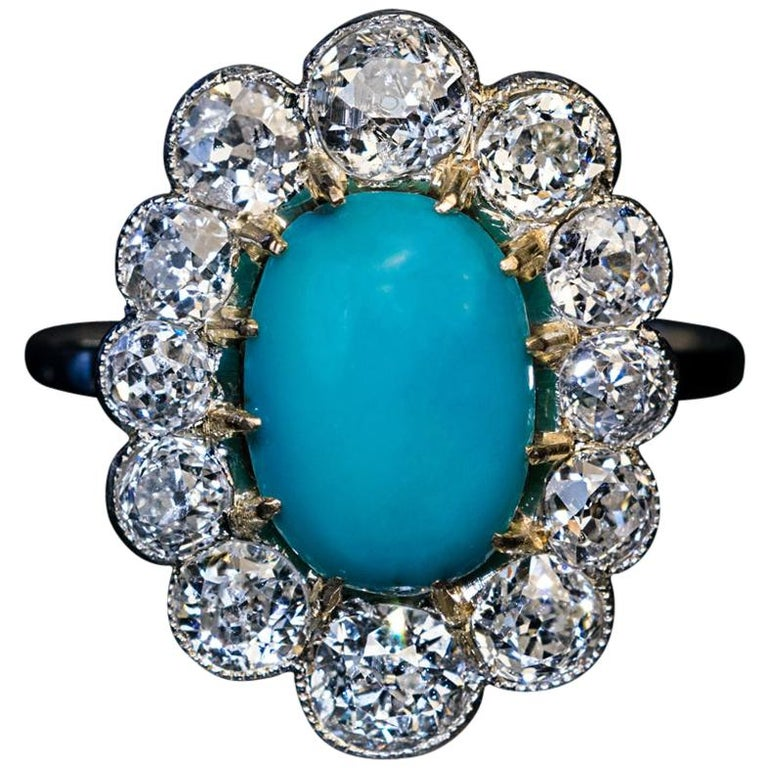 Vintage Persian Turquoise Diamond Gold Platinum Ring For Sale