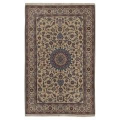 Vintage Persian Wool & Silk Nain Rug  4' x 6'