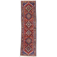 Vintage Persian Yalameh Runner with Tribal Design, Hallway Runner
