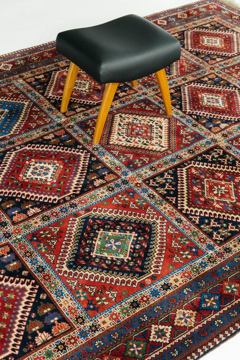Hand-Knotted Vintage Persian Yalameh Shiraz Rug For Sale