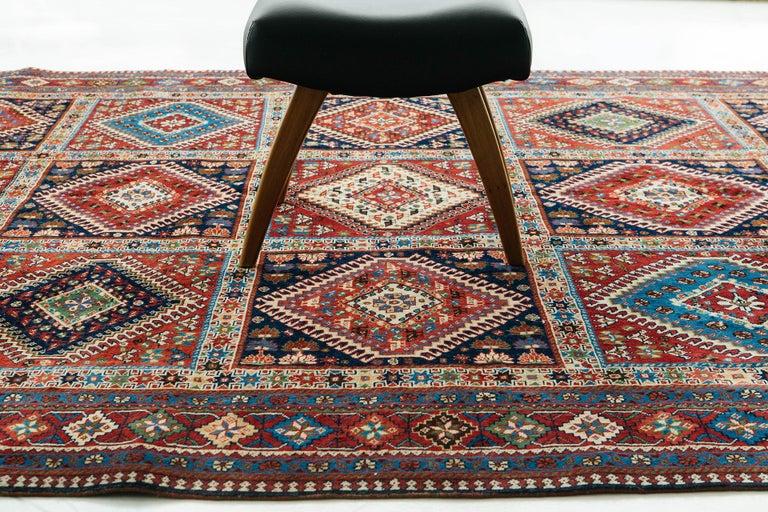 Wool Vintage Persian Yalameh Shiraz Rug For Sale