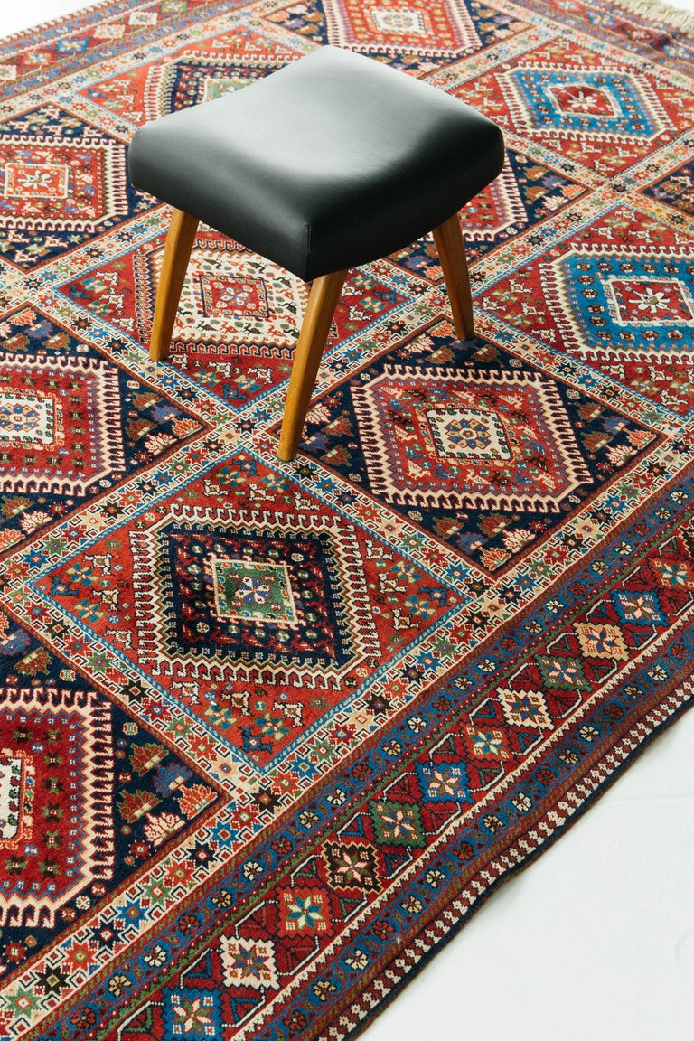 Vintage Persian Yalameh Shiraz Rug For Sale 2