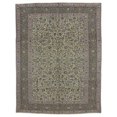 Vintage Persian Yazd Area Rug with French Country Style
