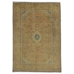 Vintage Persian Yazd Area Rug with Mediterranean Tuscan Style
