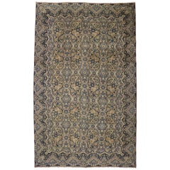 Vintage Persian Yazd Kirman Rug with French Country Style