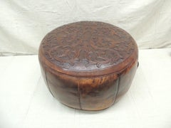 Vintage Peruvian Leather Ottoman with Handles