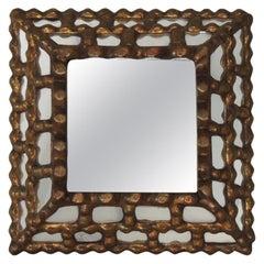 Vintage Peruvian Square Gold Mirror