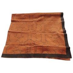 Vintage Peruvian Textile Fragment in Brown and Burnt Orange