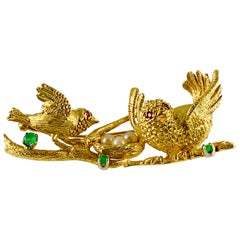 Vintage Peter Linderman 18 Karat Gold Emerald Ruby and Pearl Birds Nest Brooch
