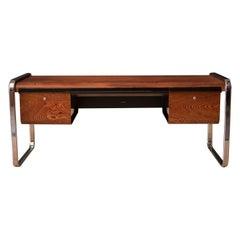 Vintage Peter Protzman Zebrawood and Chrome Executive Desk for Herman Miller