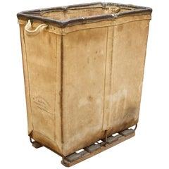 Vintage Petite 1940s Industrial Canvas Laundry Clothing Textile Bin Basket