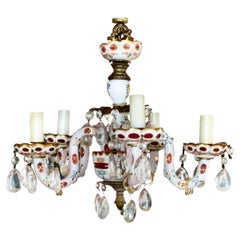 Vintage Petite Bavarian Porcelain Chandelier, 5 Armed, Red, Continental Lighting
