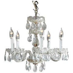 Vintage Petite French Cut Crystal and Chrome Chandelier, 20th Century