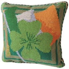 Vintage Petite Green and Orange Tapestry Pillow with Green Velvet Backing