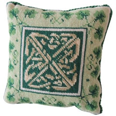 Vintage Petite Green and White Tapestry Pillow with Green Velvet Backing