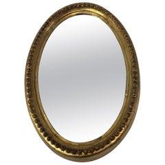 Vintage Petite Oval Gold Leaf Florentine Wall Mirror