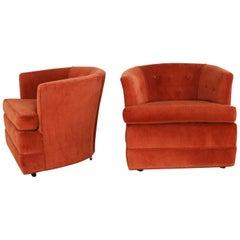 Vintage Petite Pair Hollywood Regency MCM Barrel Chairs Burnt Orange on Casters