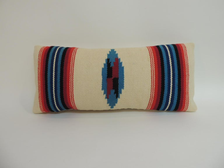 American Vintage Petite Southwestern Woven Wool Decorative Lumbar Pillow