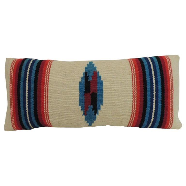 Vintage Petite Southwestern Woven Wool Decorative Lumbar Pillow