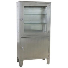 Vintage Petite Stainless Steel Industrial or Medical Display Storage Cabinet PR
