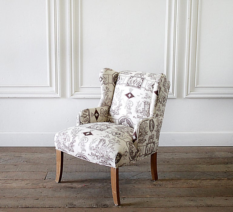 Pleasing Vintage Petite Wing Chair Upholstered In Brown Toile Fabric Caraccident5 Cool Chair Designs And Ideas Caraccident5Info
