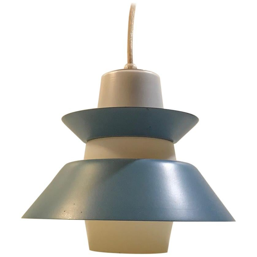Vintage Petrol Blue Ceiling Lamp in Opaline from Voss, Denmark, 1950s