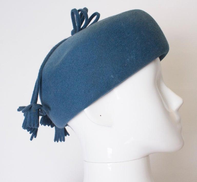 Women's Vintage Petrol Blue Felt Hat For Sale