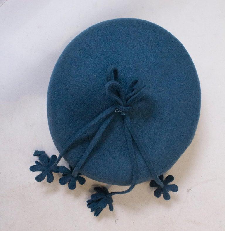 Vintage Petrol Blue Felt Hat For Sale 1
