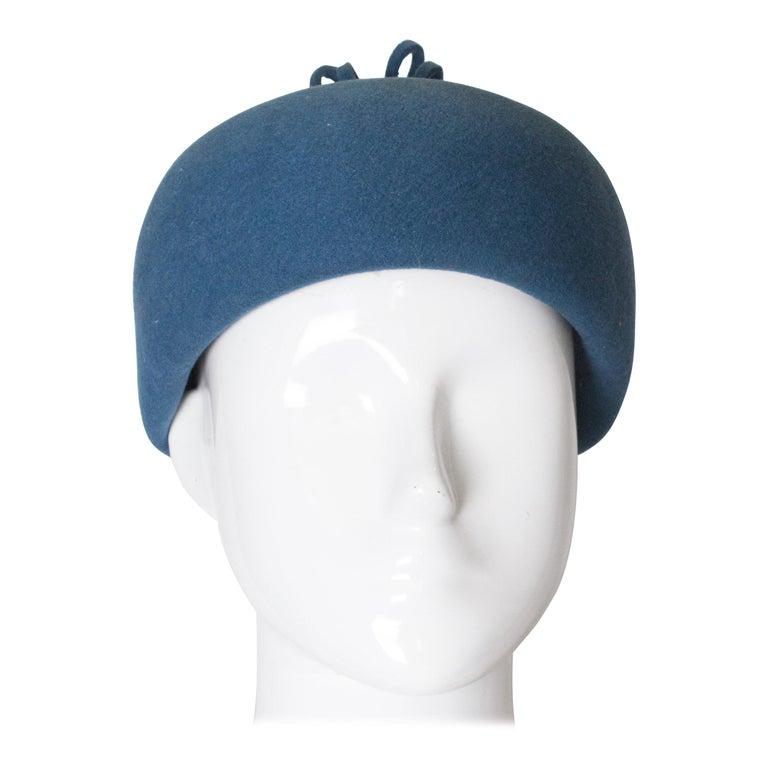 Vintage Petrol Blue Felt Hat For Sale