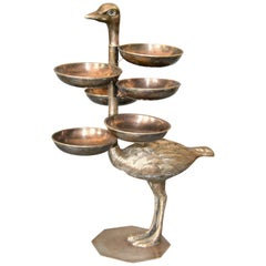 Vintage Pewter Ostrich with Serving Trays
